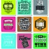 Retro food labels illustration vector 07