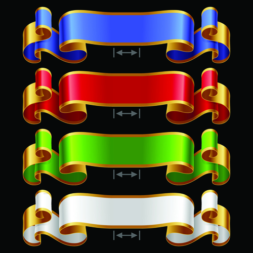 Colored ribbons design vector 04