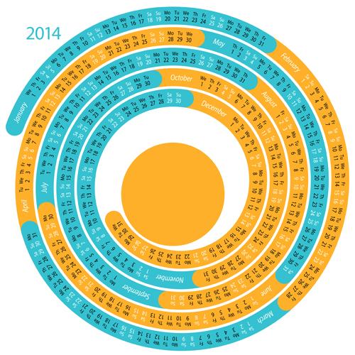 Round Calendar Design : Creative round calendars vector calendar