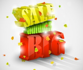 Autumn big sale design elements vector 05