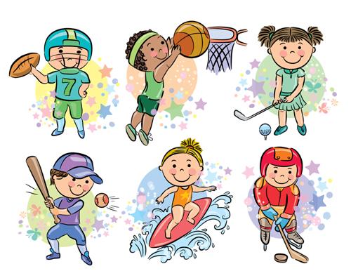 Sports People Cartoon Vector 03 Free Download