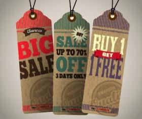 Vintage tags big sale vector 04