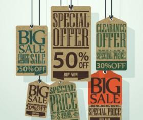 Vintage tags big sale vector 05