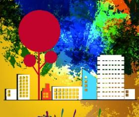 Urban landscape background vector 01
