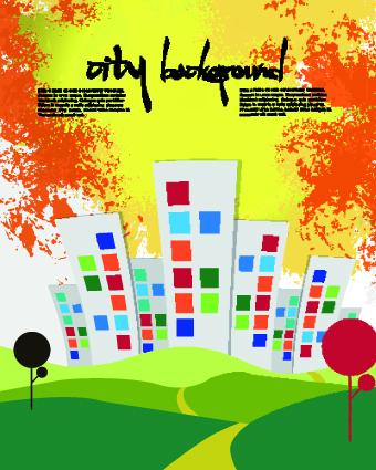 Urban landscape background vector 02