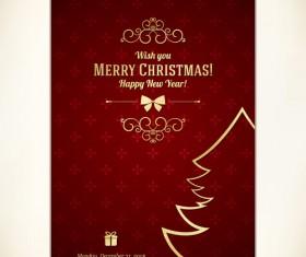 Vintage 2014 christmas background design vector 06