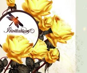 Vintage rose wedding Invitation cards vector 05