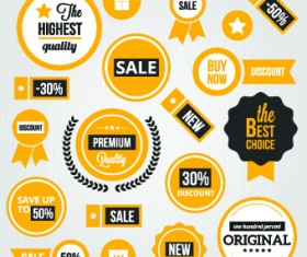Yellow style sale labels vector 03