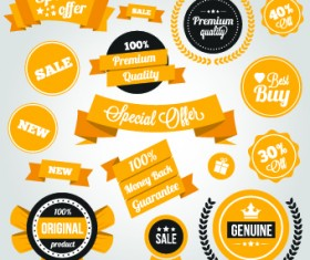 Yellow style sale labels vector 04