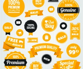 Yellow style sale labels vector 05