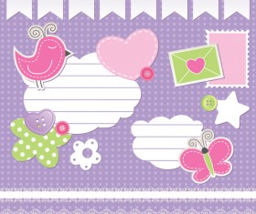 Cute baby backgrounds vector 01