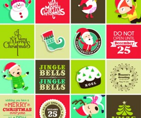 Vintage christmas elements and labels vector 02