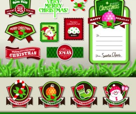 Vintage christmas elements and labels vector 03