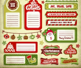 Vintage christmas elements and labels vector 04