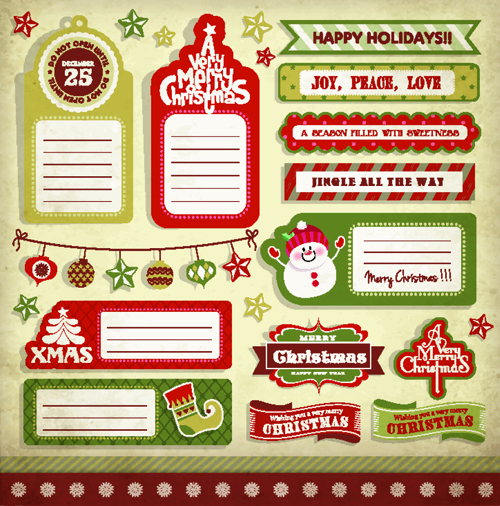 Vintage christmas elements and labels vector 04 - Vector Christmas ...