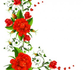 Colored flowers with dewdrop vector 03