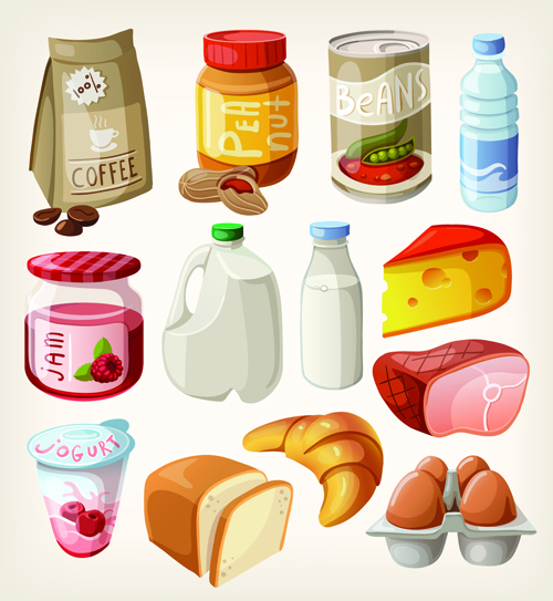 Set of food icons vectors 04