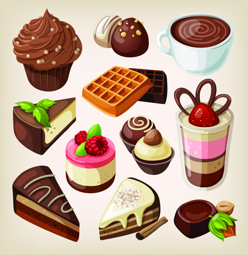 Set of food icons vectors 08