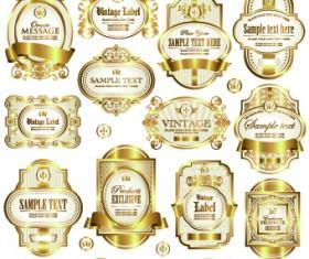 Gold framed labels vector 02
