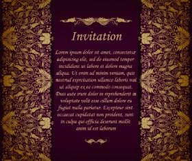 Retro floral invitation vector 01