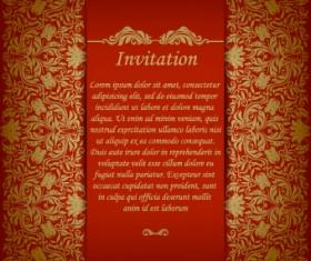 Retro floral invitation vector 02