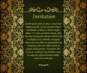 Retro floral invitation vector 03