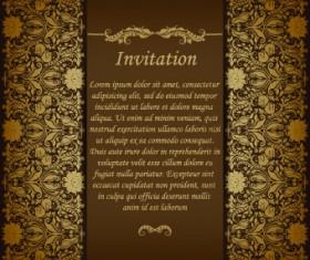 Retro floral invitation vector 04