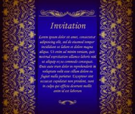 Retro floral invitation vector 05
