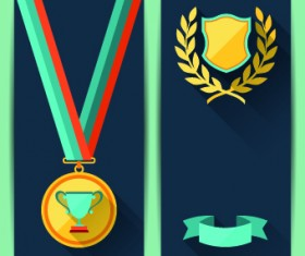 Medals objects design vector 02