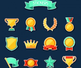 Medals objects design vector 05