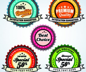 Vintage round premium quality label vector 04