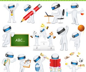Set of 3D robots vector 02