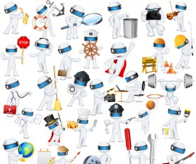Set of 3D robots vector 03