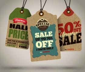 Vintage cardboard sale tags vector 01
