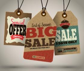 Vintage cardboard sale tags vector 02