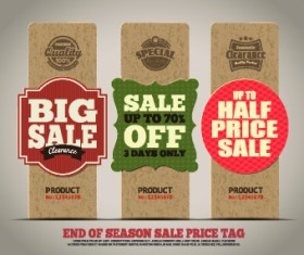 Vintage cardboard sale tags vector 03
