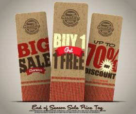 Vintage cardboard sale tags vector 04