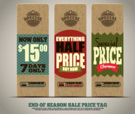 Vintage cardboard sale tags vector 05
