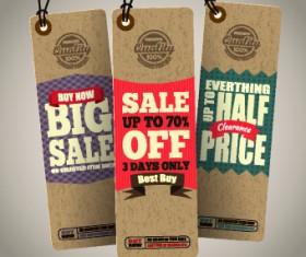 Vintage cardboard sale tags vector 06