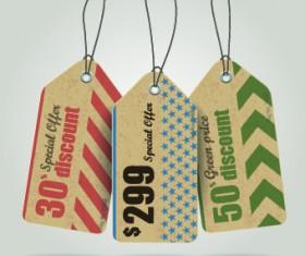 Vintage cardboard sale tags vector 07