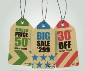 Vintage cardboard sale tags vector 08