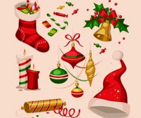 2014 Christmas vintage objects vector 03