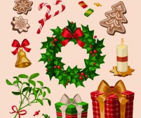 2014 Christmas vintage objects vector 04