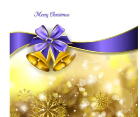 2014 Christmas ribbon and bell background 02