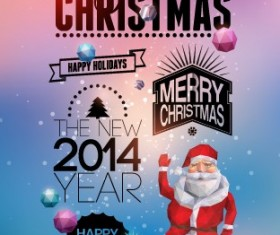 2014 Merry Christmas Poster design elements vector 01