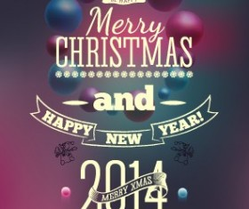 2014 Merry Christmas Poster design elements vector 02