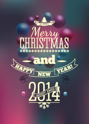 2014 Merry Christmas Poster design elements vector 02 - Vector ...