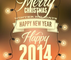 2014 Merry Christmas Poster design elements vector 03