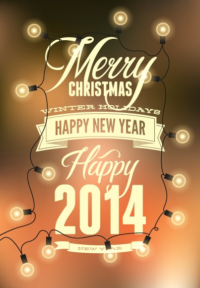 2014 Merry Christmas Poster design elements vector 03 - Vector ...