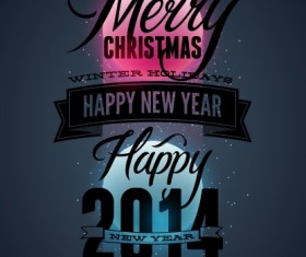 2014 Merry Christmas Poster design elements vector 04